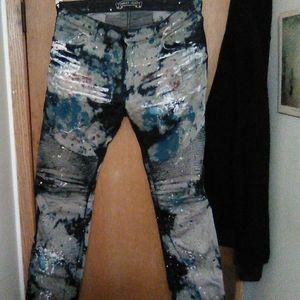 "Robin's Jean biker fit, ""India"" wash, w/ long flap"